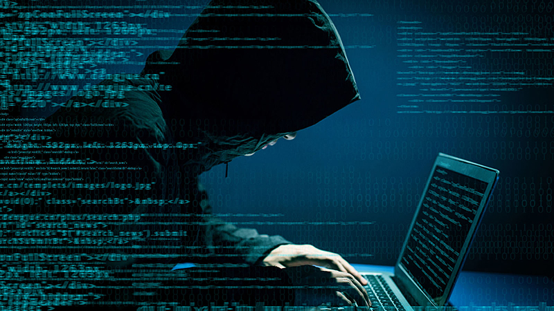 Hacker attacking internet